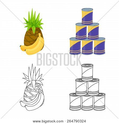 Vector Illustration Of Food And Drink Icon. Collection Of Food And Store Stock Symbol For Web.