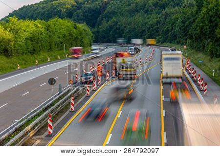 Idstein, Germany, Highway Autobahn 3, May 28th, 2018 - A German Autobahn Highway Construction Site W