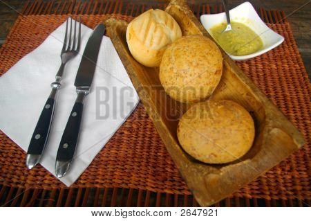 Lunch Bread Served In Tropical Restaurant