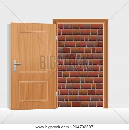 Open Door, But Walled Up With Bricks. Symbol For Being Hopeless, Trapped, Jailed Or Banished, And Fo