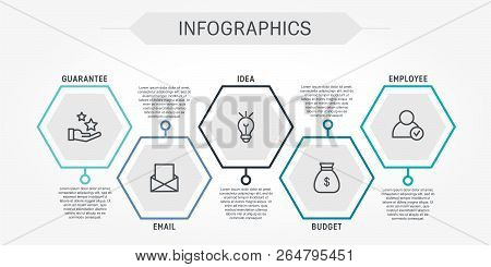 Flat Line Vector Illustration. Infographic Template With Five Elements, Hexagons And Text. Timeline