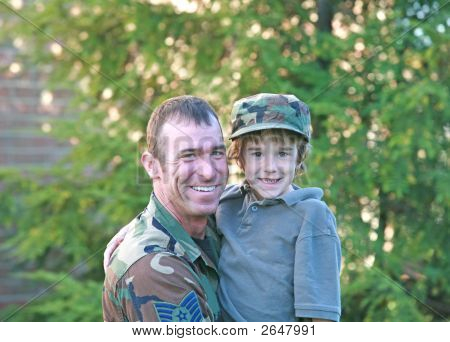 Military Father Holding Son