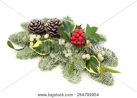 Winter and Christmas natural table decoration with holly berries, snow covered spruce pine, ivy, pine cones and mistletoe on white background.