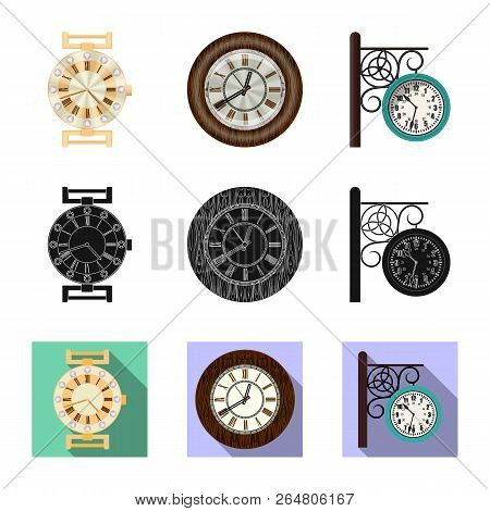 Isolated Object Of Clock And Time Sign. Collection Of Clock And Circle Stock Vector Illustration.