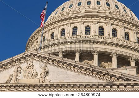 Detail Of The United States Capitol Building In Washington D.c., The Meeting Place For Congress, And