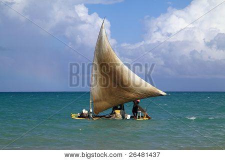Fishing raft at sail Maceio