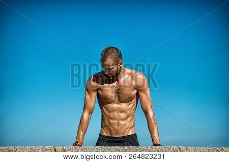 Guy Motivated Workout. Sportsman Improves His Strength By Push Up Exercise. Push Ups Challenge. Impr