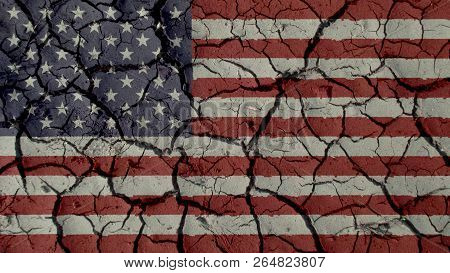 Political Crisis Or Environmental Concept: Mud Cracks With US Flag poster