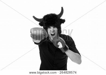 Aggression And Masculinity. Man Horns As Devil Or Bull Aggressive Threaten Violence Gonna Punch You.