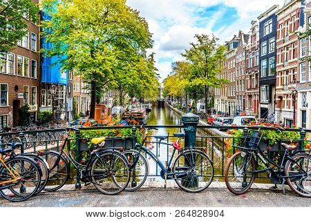 Amsterdam, The Netherlands - Sept 28, 2018: Historic Gable Houses Along The Bloemgracht Viewed From