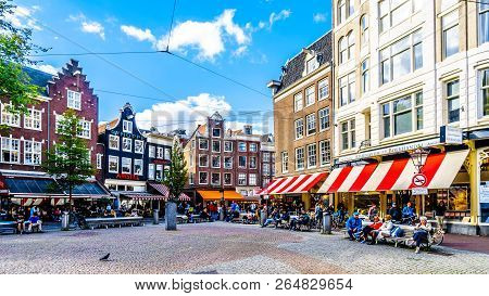 Amsterdam, The Netherlands - Sept 28, 2018: Tourists Gathering At The Spui Plein (spui Square) Surro