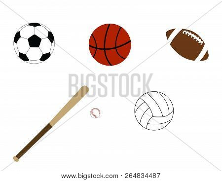 Sports Soccer Ball Basketball Football Volley Ball Bat Vector Ai