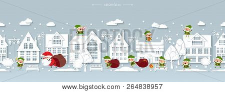 Seamless Christmas Border, Winter Street, Scandinavian Style White Paper Buildings With Funny Santa