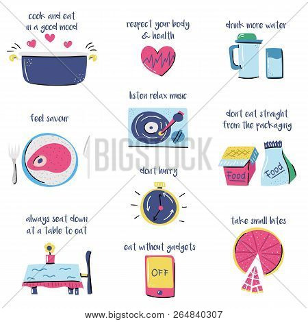 Vector Illustration With Cartoon Rules On Mindful Eating Theme. Healthy Nutrition, Pespect Body, Avi