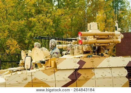 Nizhniy Tagil, Russia - September 25. 2013: Tank Support Fighting Vehicle Bmpt Terminator Moves On T