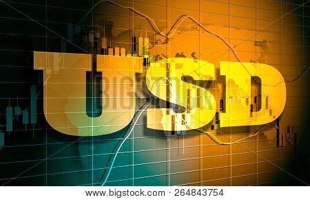 Forex Candlestick Pattern. Trading Chart Concept. Financial Market Chart. Usa Dollar Symbol. 3d Rend