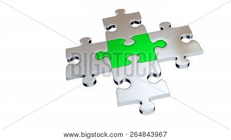 3d Illustration Of Four Grey Puzzle Pieces Encircle One Green Piece With A White Background