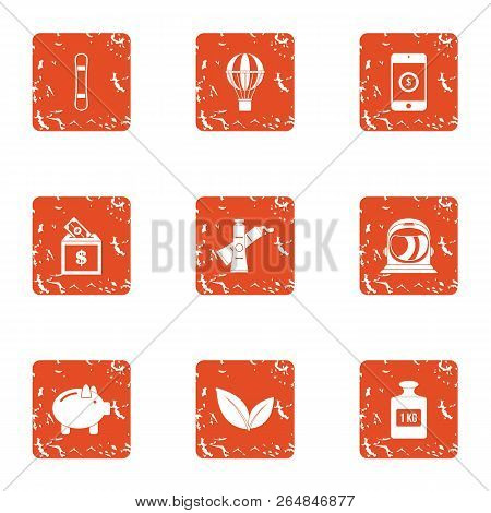 Refinance Icons Set. Grunge Set Of 9 Refinance Vector Icons For Web Isolated On White Background