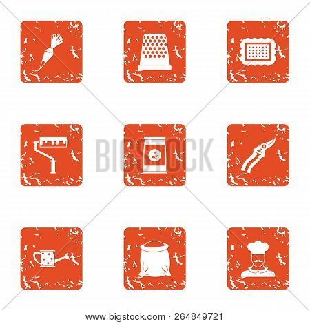 Trade Day Icons Set. Grunge Set Of 9 Trade Day Vector Icons For Web Isolated On White Background