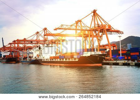 Container Ship At Loading Port : Logistics And Transportation Of International Container Cargo Ship