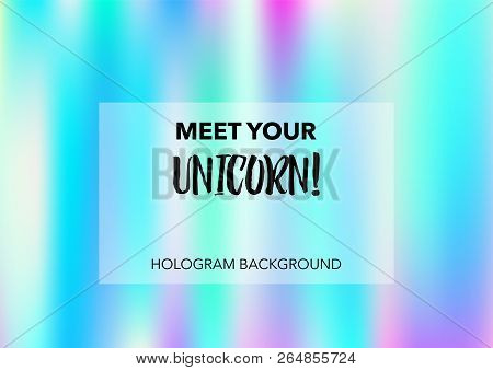 Dreamy Hologram Gradient Vector Background. Bright Trendy Tender Pearlescent Glam Overlay. Vibrant H