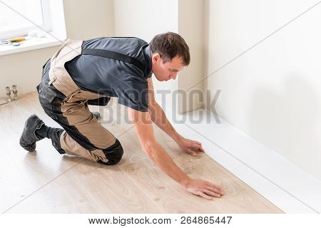 Male Worker Installing New Wooden Laminate Flooring On A Warm Film Foil Floor. Infrared Floor Heatin