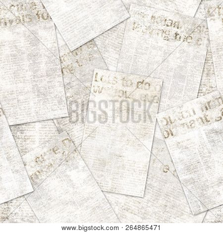 Newspaper Old Grunge Collage Seamless Pattern. Lots Of Unreadable Vintage Newsprint Texture News Pap