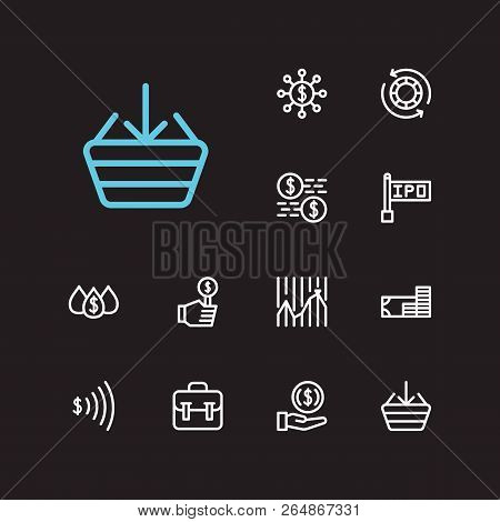 Trading Icons Set. Invest Money And Trading Icons With Stock Market, Going Long And Chip Stocks. Set