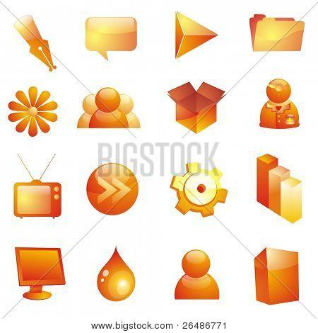 Glassy icon set - 16 web icons in orange