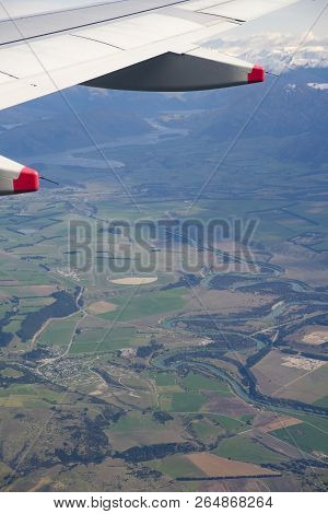 Wanaka On New Zealands South Island, Aerial View From Commercial Airplane
