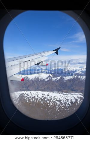 New Zealands South Island, Aerial View From Commercial Airplane