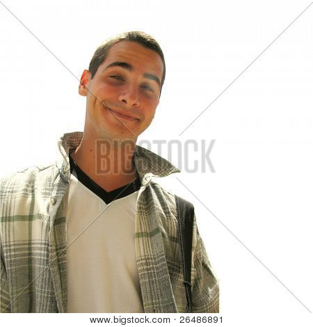 Funny young handsome boy smiling - isolated