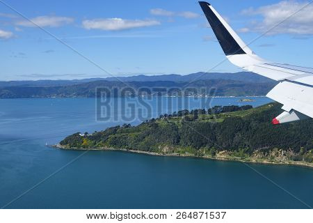 Aerial View Of Part Of Wellington, Point Halswell On The Miramar Peninsula, Taken From A Commercial