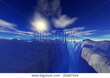 Blue abyss - 3d render illustration of rocky landscape