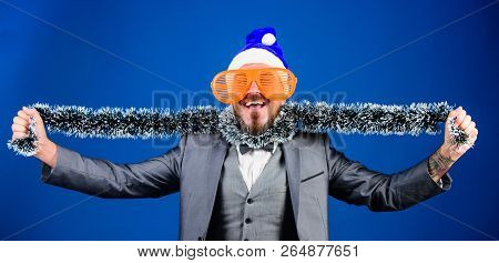 Guy Tinsel Ready Celebrate New Year. Corporate Party Ideas Employees Will Love. Corporate Christmas