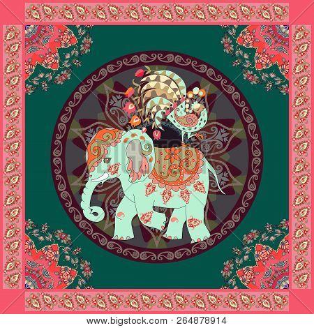 Invitation, Vintage Greeting Card, Pillowcase Or Ethnic Bandana Print With Cute Elephant, Peacock, M