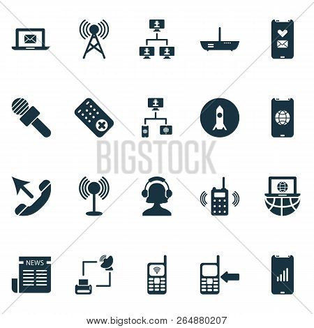 Communication Icons Set With Communication Console, Call Mobile Phone, Communication Tower And Other