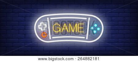 Game Neon Text With Portable Videogame Console. Computer Games And Entertainment Advertisement Desig