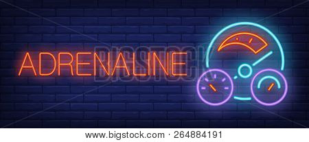 Adrenaline Neon Sign. Car Dashboard On Brick Background. Car Shop, Auto Shop, Car Dealership. Night