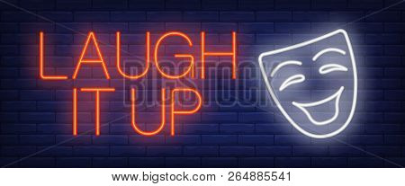 Laugh It Up Neon Sign. Comedian Mask On Brick Background. Comedy Show, Standup, Humor. Night Bright