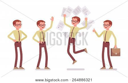 Male Clerk Positive Emotions. Young Man In Good Work Environment, Fun Inspires Employees, Enjoy Enor