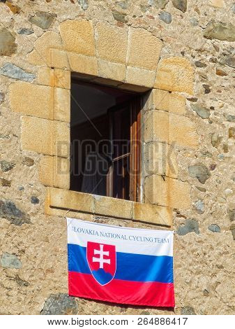 The National Flag Of Slovakia Hangs From A Window During The 2014 Uci Road World Championships - Vil