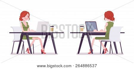 Female Clerk Working With Laptop. Young Woman, Employee Performing Data Processing, Writing Letters,