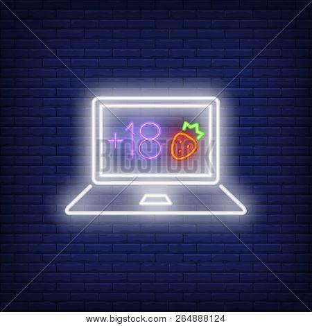 Porno Site Neon Sign. Luminous Signboard With Laptop. Night Bright Advertisement. Vector Illustratio