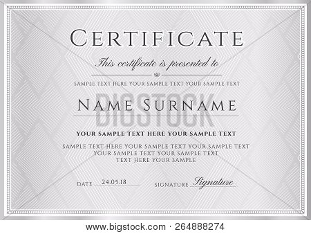 Certificate Vector Silver Template. Gray Secured Border Triangle Abstract Pattern Background For Dip