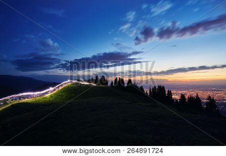 Light Trace In The Mountain
