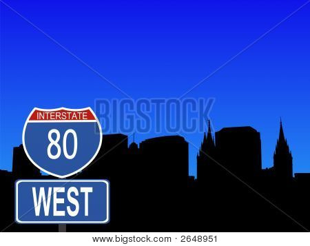 Salt Lake City With Interstate Sign