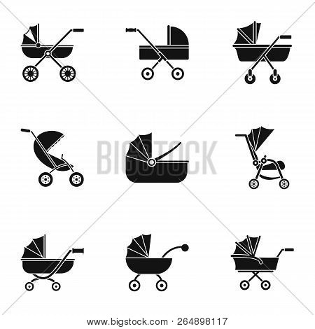 Baby Stroller Icon Set. Simple Set Of 9 Baby Stroller Vector Icons For Web Design On White Backgroun