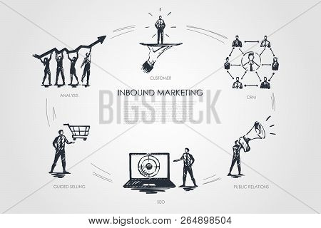 Inbound Marketing, Crm, Public Relations, Analysis, Guided Selling Vector Set