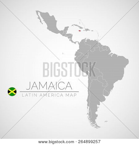 Map Of Latin America With The Identication Of Jamaica. Map Of Jamaica. Political Map Of America In G